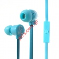 Ακουστικά στέρεο KEEKA Noodle shaped 3.5mm Blue σε μπλέ χρώμα (In-Ear with Mic for iPhone etc)