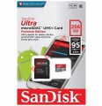 Κάρτα μνήμης microSDXC Sandisk 256GB Ultra Class 10 Read 95mbs with Adapter (EU Blister)